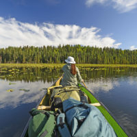Canoer on Waterfowl Lake in the Swanson Lake Canoe area of the Kenai Wildlife Refuge in Alaska